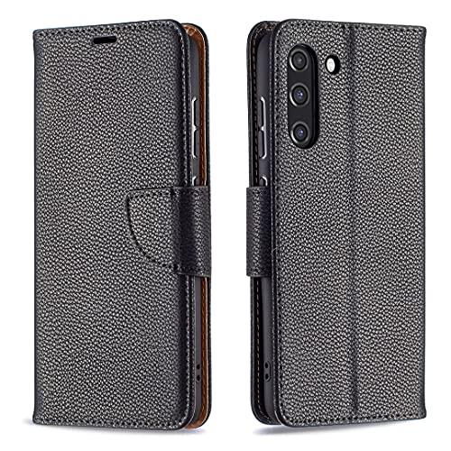 HSRWGD Galaxy S21 FE Funda para Samsung S21 FE Wallet Case, Anti Resistente Antideslizante Bumper Cover TPU Flip Protective Skin (negro)