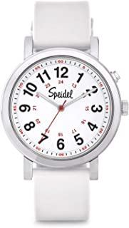 Medical Scrub Glow Watch - Silicone Band, 24 Hour Marks, Second Hand, Lighted Easy-Read Face