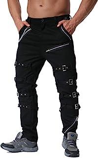 Pantalones Casuales para Hombre Pantalones Cargo elásticos, Ajustados, Personalizados, con decoración de Metal, Rectos, La...