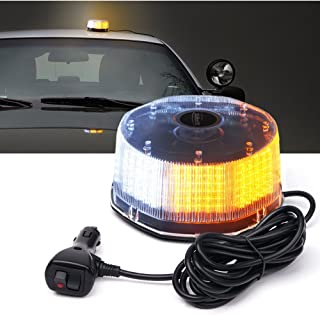 Xprite Sunbeam Series Amber/Yellow Emergency Caution Warning Rotating Revolving Strobe Beacon Light, with Magnetic Mount, 14 Modes 16W 240 LED for 12v Vehicle Truck Snow Plow