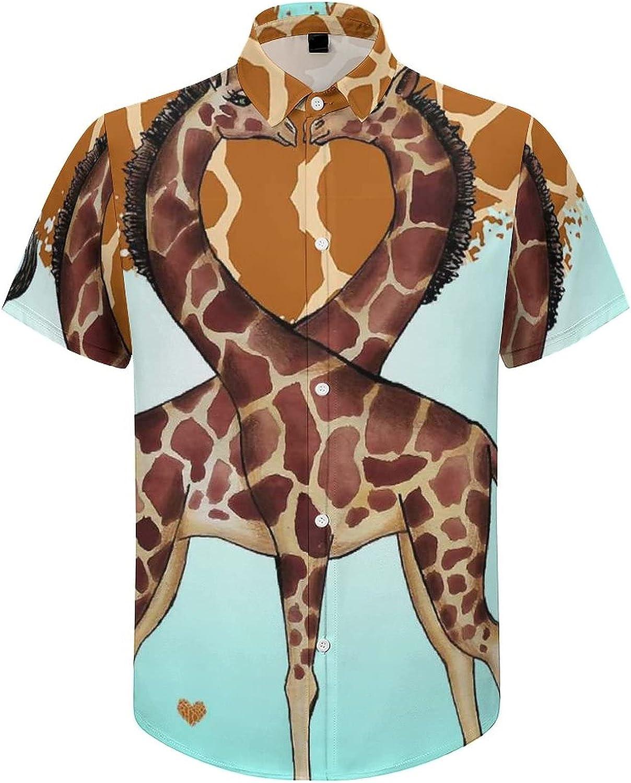 Men's Short Sleeve Button Down Shirt Giraffe Couple Heart Summer Shirts