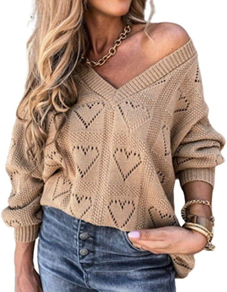 TranRay Women V-Neck Knitted Latest item Sweater Long Hollow Ju Sleeve Ranking TOP18 Baggy
