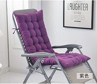 JRMU Patio Chaise Lounger Cushion, Thicken Foldable Chair Pads 6 Ties Non Slip Chair Cushion Tatami Mat Pad for Garden Recliner Long Armchair-Purple 48x19x3inch
