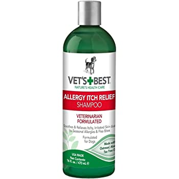 Vet's Best Allergy Itch Relief Dog Shampoo   Cleans and Relieves Discomfort from Seasonal Allergies   Gentle Formula   16 Oz
