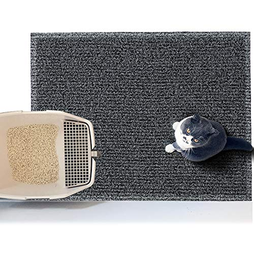 Asvin Thick Premium Cat Litter Mat, Soft on Pet Paws, Traps Litter and Dirt from Kitty, Water Resistant, Scatter Control, for Litter Box, Indoor, Room