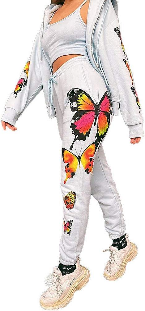 Chándal para Mujer 2 Piezas Set Chándales Completo Manga Larga Deportivos + Pantalones Largos con Mariposa para Casual, Gimnasio, Entrenamiento