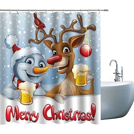 Cartoon Santa and Reindeer Shower Curtain Bathroom Decor Fabric 12hooks 71in