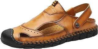 Lefthigh Men's Closed Toe Leather Sandals, Sport Hiking Sandal Athletic Walking Footwear