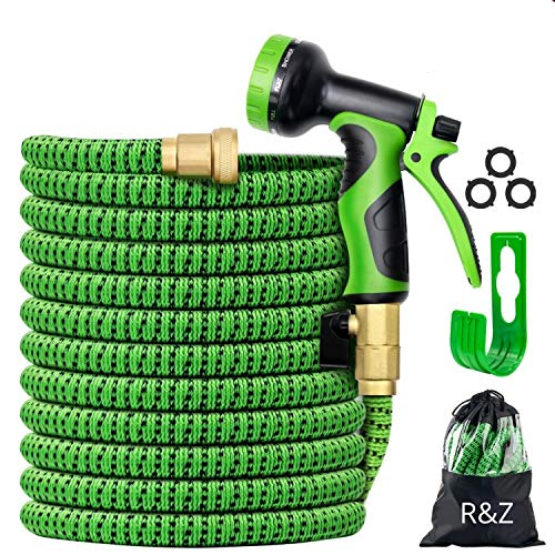 """R&Z 100 ft Expandable Garden Hose - Kink Free Garden Water Hose - Super Durable 3750D Garden Water Hose - Strongest Triple Latex Core with 3/4"""" Solid Brass Fittings"""