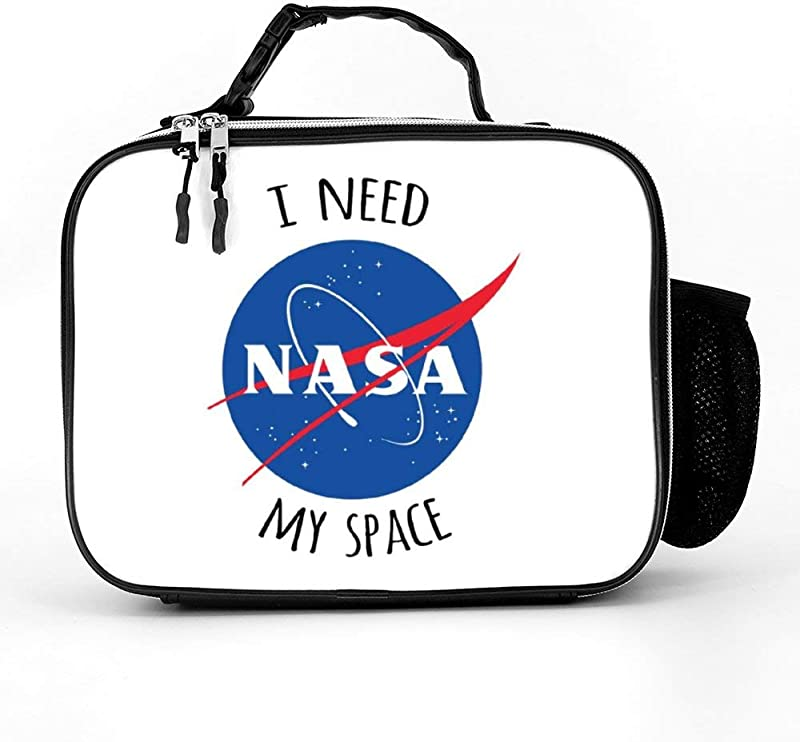 AVBER Durable Detachable Leather Lunch Bags With I Need My Space NASA Cool Lunch Box For Men For Women Men Adults College Work Picnic Hiking Beach Fishing