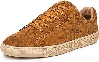 Zapatillas de Deporte Planas para Hombres Zapatos Deportivos para Atar con Cordones Zapatillas de Correr para Caminar de Cuero de Ante .Zapatos de Moda
