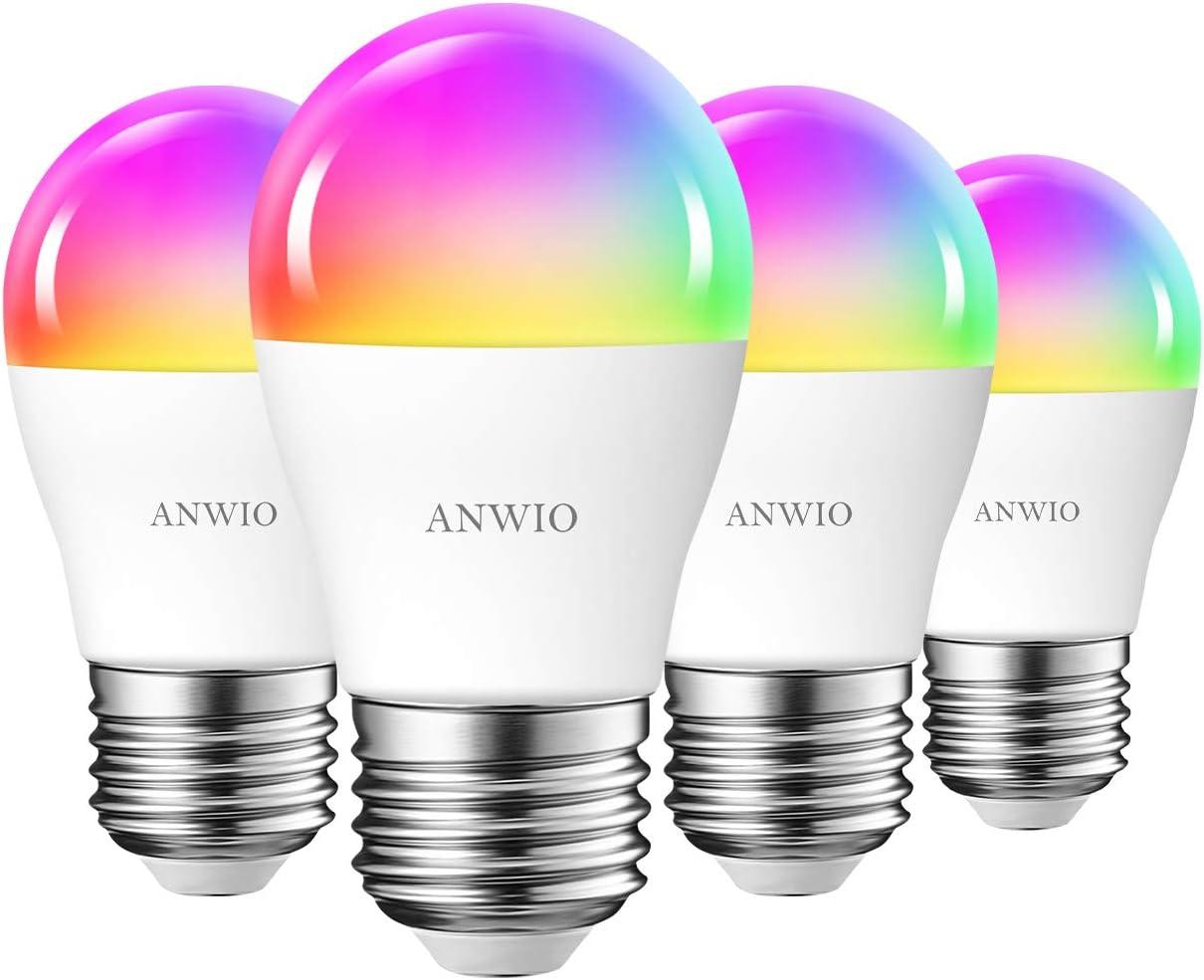 Warmwei/ß 2 St/ücke ANWIO Smart WLAN Gl/ühbirne E27 5W 470LM intelligente Bluetooth Lampe Dimmbare Mehrfarbige LED Birne 2700K-6500K kompatibel mit Alexa Google Home und Echo Dot