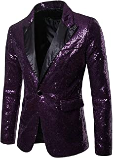 Sodossny-AU Men Fashion Slim Sequins Solid Pattern Suit Jacket Blazer