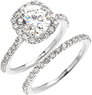 10k White Gold 3 Carat CZ Solitaire Halo Proposal Engagement and Wedding Ring Set