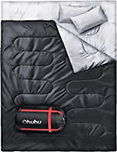 Ohuhu Double Sleeping Bag with 2 Pillows, Waterproof Lightweight 2 Person Adults Sleeping Bag for Camping, Backpacking, Hiking, with Carrying Bag