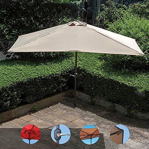 ZEH Balcón Paraguas, 2,3 m * 1,2 m, Plaza Patio Paraguas, sombrilla de Playa, Ocio Parasol Pared, a Prueba de Agua del jardín Sombrilla, con manivela Diseño FACAI (Color : Without Base, Size : Khaki)