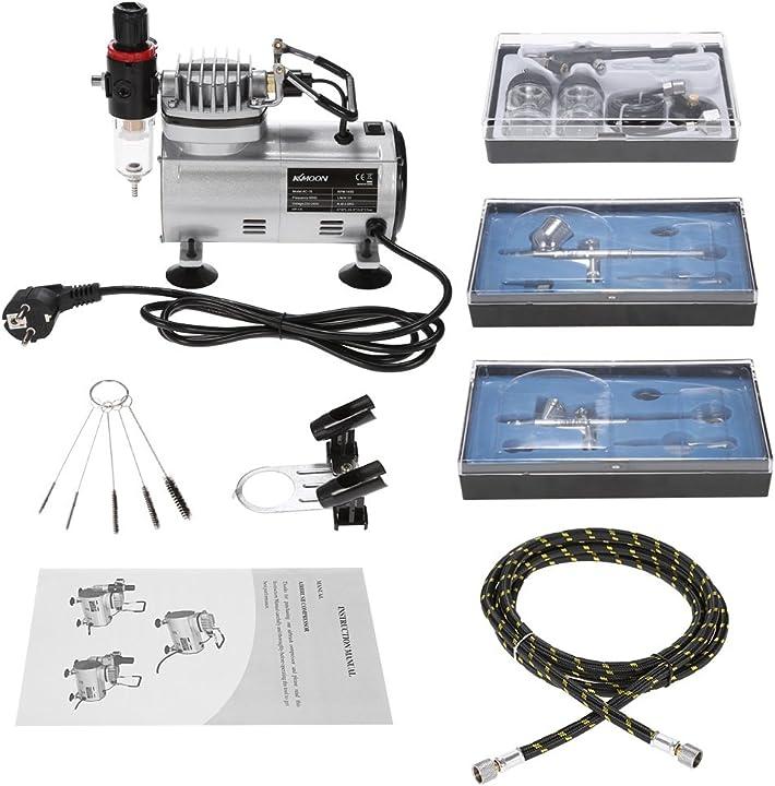 Aerografo professionale kit con mini compressore kkmoon FRE1702EUDDP