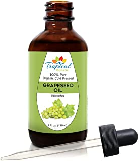 100% Pure Organic Grapeseed Oil 4 oz by Tropical Holistic - All Natural Cold Pressed - Best for Skin, Hair, Massage and Carrier Oil