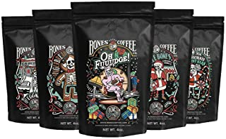 Bones Coffee Holiday Sample Pack Gift Set, Ground Coffee Beans Sampler, Flavored Coffee Gifts, Pack of 5 Assorted Flavored...