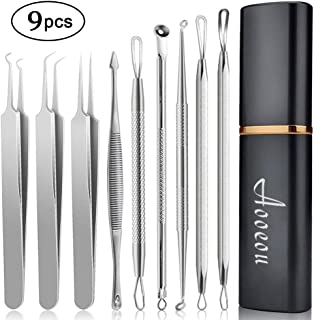 Blackhead Remover Acne Tool 9PCS Kit, Aooeou Professional Stainless Steel Curved Pimple Tweezers Comedone Extractor Instrument Tool Set for Curing Facial Blemish Whitehead