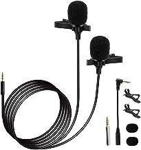 Honeytecs Condensador com clip portátil Omni Microfone direcional Cabeça dupla Smartphone Computador Lapela Mic 3,5 mm Plu...