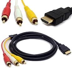 Tomost HDMI Macho a 3 RCA Cable Audio Video AV Adaptador Código de extensión para HDTV DVD 1080P y la mayoría de los proyectores LCD Transmisor (sin función de conversión de señal – 1,5 m de Largo