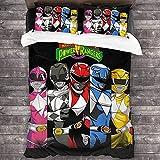Power Rangers - Juego de ropa de cama, diseño de Power Rangers (A01, 200 x 200 cm + 50 x 75 cm x 2)