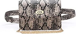 Small PU Leather Elegant Fanny Pack Belt Bag Purse Snakeskin Pattern for Women Travel (Snakeskin Crossbody+Fanny pack1)