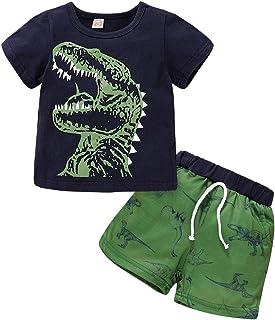 SEVEN YOUNG Toddler Baby Boy Clothes Short Sleeve Dinosaur Printed Wild BOY T-Shirt + Shorts 2pcs Boys Summer Outfit