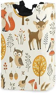 Panier à linge arbre oiseau hibou cerf renard grand sac à linge sale pliable grand panier de rangement en tissu paniers de...