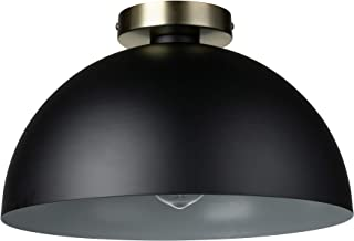 "Amazon Brand – Rivet Single-Light Flush-Mount Ceiling Light with Metal Shade, 7""H, Black and Brass"