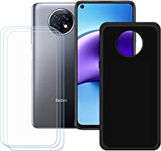 YZKJSZ Case for Xiaomi Redmi Note 9T 5G Cover + 3 x Screen Protector Tempered Glass Protective Film - Soft Gel Black TPU S...