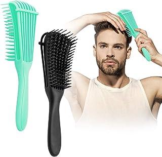 Detangling Brush, 2 Pcs Pain Free ez Detangler Hair Brushes Detangling Comb for Afro America/African Women Men Kids Nature...