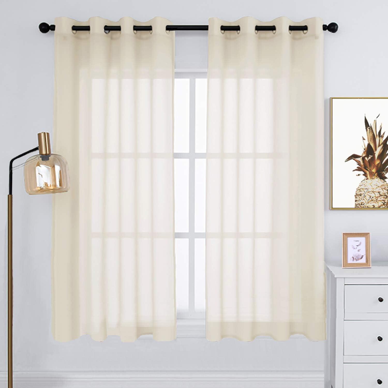 Rutterllow Sheer Curtains 72 Inch Length S 日本 Look Linen 輸入 Panels - 2