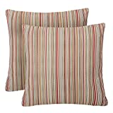 YUKORE Pack of 2 Simpledecor Throw Pillow Covers Couch Pillow Shells,20X20 Inches,Jacquard Colorful Stripes,Multicolor Red