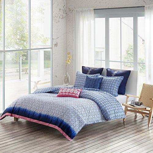 Echo Design Cotton Reversible Print Duvet Cover Set Full/Queen/Blue