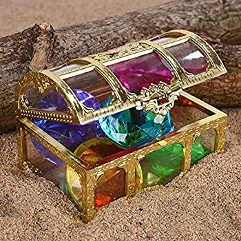 Phedrew Diving Gem Under Water Pool Toy 6 Big Colorful Diamond Set with Treasure Box Summer Swimming Toys Dive Toy Set Dive Throw Toy Set Underwater Swimming Toy for Pool Use