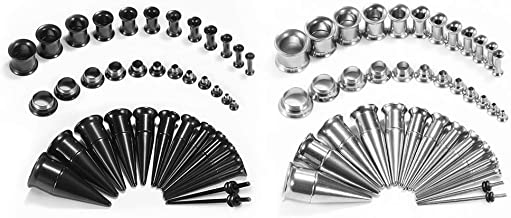 TBOSEN 36PCS Ear Gauge Stretching Kit Stainless Steel Double Flare Alloy Tapers 2 In 1 Plugs Set Eyelet 14G-00G