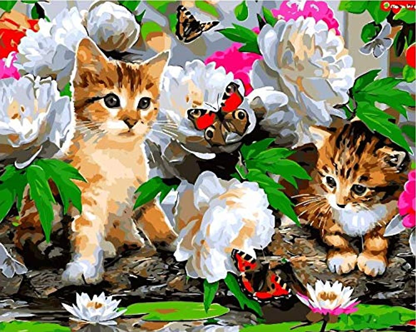 Easy ArtWorld's Painting by Number   Paint by Number Kits   Beautiful DIY Artwork Painting Kit   Painting with a Twist   Painting for All Ages (Nature's Cats, Wooden Frame)