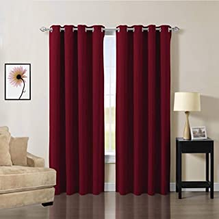 OCEANLIFESTYLE Home Decoration Curtains, Triple Weave Microfiber Blackout Material Drapes, Thermal Insulated Lined Curtains, Energy Efficient Blackout Shades, 2 Piece 52 x 84 Inch Burgundy Red Curtain