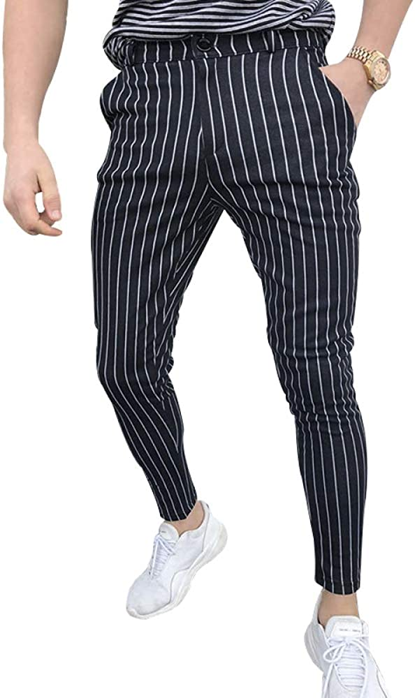 N/ A Mens Pants Striped Casual Slim Joggers Trousers Track Long