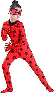 MYRISAM Disfraz de Mariquita Milagrosa para Niña Halloween Ladybug Viste A Cosplay Leotardo Bodysuit con Lunares + Máscara de Ojos + Yo-Yo Bolsa Niños 3Pcs Trajes de Partido Carnaval 5-12 años