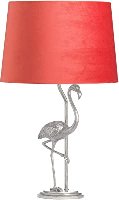 Hill 1975 Antique Silver Flamingo Lamp with Coral Velvet Shade, Resin, Multi-Colour, One Size