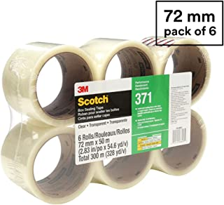 Scotch 371 Industrial-Grade Packing Tape, Clear, 72 mm x 50 m, High Performance Sealing Tape for Medium-Duty Commercial Box and Carton Sealing, Moving, Packaging and Shipping, 6 Pack