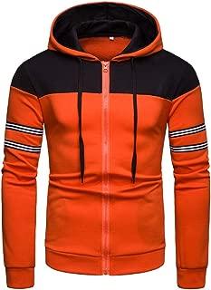 QBQCBB Mens Long Sleeve Hooded Blouse Patchwork Zipper Striped Drawstring Hoodie Shirt