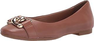 حذاء نسائي مسطح من Aerosoles مصنوع من جلد أسمر ضارب للصفرة، 7
