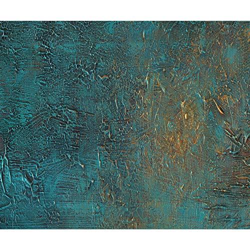 decomonkey Fototapete Steinwand Stein 400x280 cm XL Tapete Fototapeten Vlies Tapeten Vliestapete Wandtapete moderne Wandbild Wand Schlafzimmer Wohnzimmer Mauer Beton Textur türkis grün gold