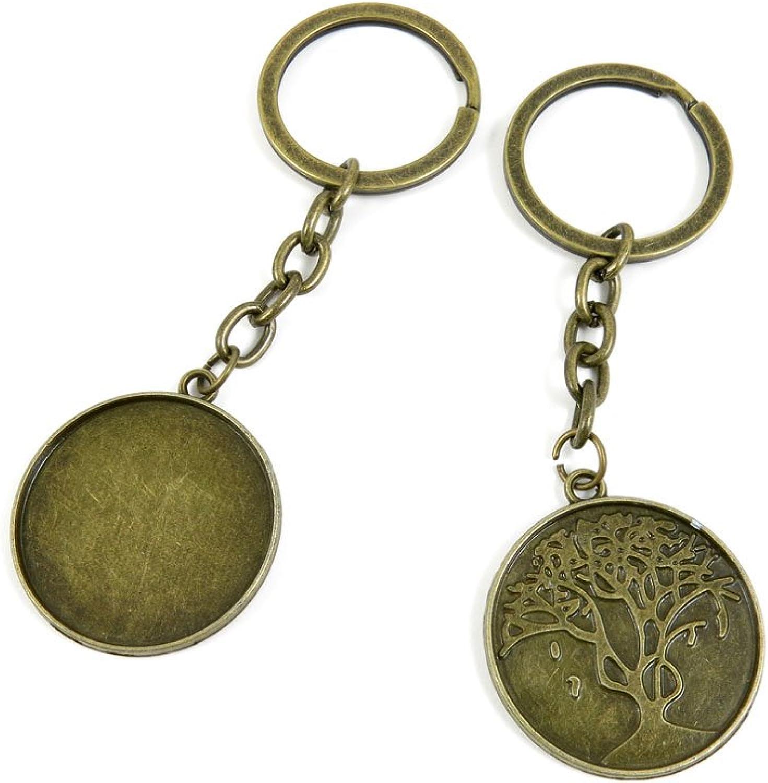 120 Pieces Fashion Jewelry Keyring Keychain Door Car Key Tag Ring Chain Supplier Supply Wholesale Bulk Lots B6HU7 Round Cabochon Frame Base