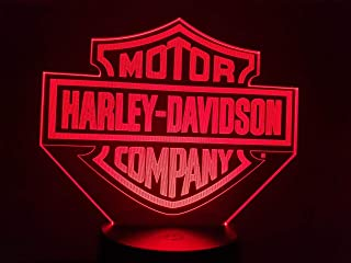 HARLEY DAVIDSON (L),Lampada illusione 3D con LED - 7 colori.