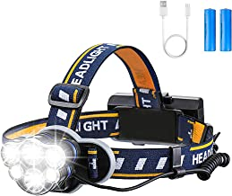 Rechargeable Headlamp, OUTERDO 6 LED 8 Modes USB Rechargeable HeadLight with 2 Batteries, Waterproof LED Head Torch Rechar...